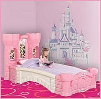 Fit For Royalty, This Twin Bed Features A Headboard With Twin Towers And A  Scenic Part 35